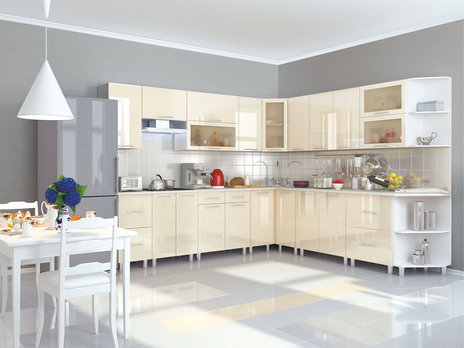 Кухня угловая Танго модульная ваниль